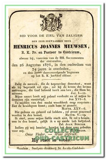 Bidprentje pastoor Meuwsen (1802-1876).