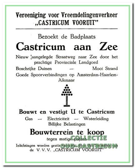 Een advertentie in de VVV-gids uit 1925, waaruit de tweeledige doelstelling van 'Castricum Vooruit' blijkt.