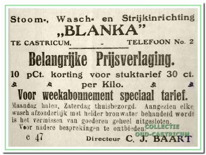 Een advertentie in het Castricumse Weekblad in 1920.