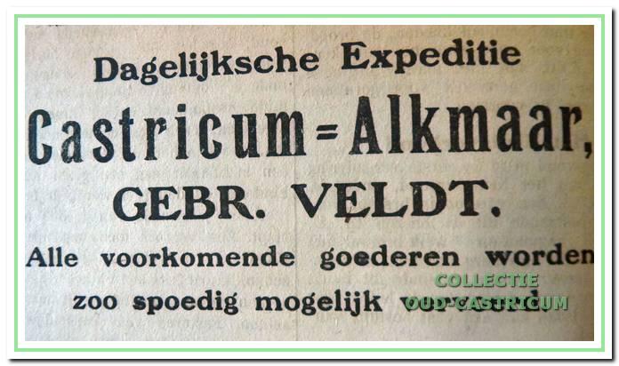 Dorus Veldt had eerst samen met zijn broer Arie een boodschappendienst met paard en wagen op Alkmaar. Hier hun advertentie in de plaatselijke krant van 28 februari 1920.