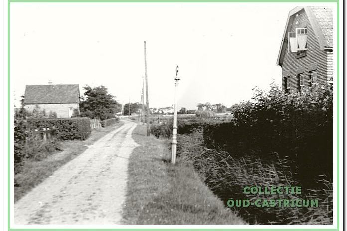 Een kijk op de Eerste Groelaan richting Kooiweg; links het huis van Piet Neelissen aan de Eerste Groenelaan 13, rechts van Henk Brakenhoff aan de Eerste Groenlaan 15.
