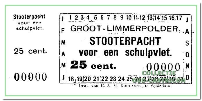 Bewijs van betaling van de stoterpacht . De inning vond plaats bij het doorvaren van de sluis bij het stoomgemaal van de Limmerpolder te Akersloot.