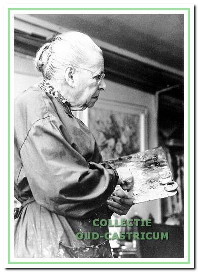 Lide Tulp zeer vele uren met palet en penseel aan de Jan Hobergstraat.