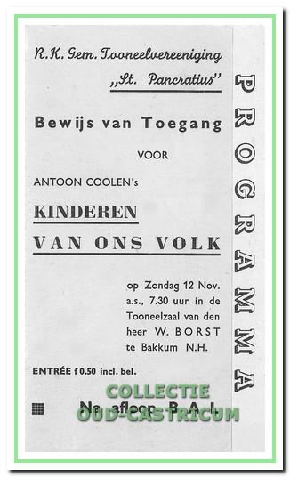 Entreebewijs en programma voor het eerste stuk 'Kinderen van ons Volk' (1939).