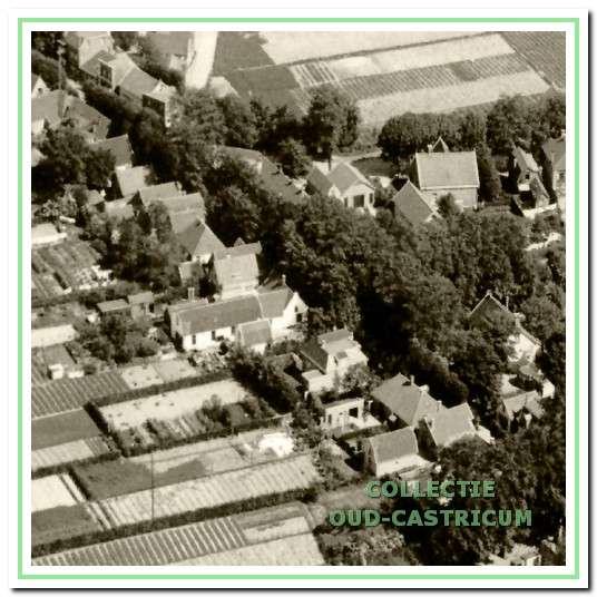 Detail van luchtfoto uit 1925 met zicht op huizen aan de even kant van de Burg. Mooijstraat en het karakteristieke tuindersgebied achter de huizen. Van rechts beneden naar boven zijn herkenbaar de panden nr 25, 23 (Gouden Stulp), 21, 17 (het pand van Olgers met een lange uitbouw aan de achterzijde), 15, 13 (later gesloopt voor de Henri Schuijtstraat), 11 (witte huis), 9, 7, 5, 3 en tenslotte 1 (familie Ten Wolde). Daarnaast het dwars gelegen pand aan de Dorpsstraat dat met nr 1 werd gesloopt om plaats te maken voor een supermarkt.
