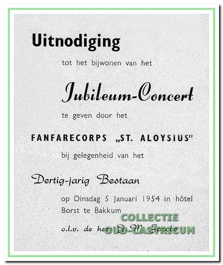 Uitnodiging voor het jubileumconcert ter gelegenheid van het 30-jarig bestaan van Aloysius.