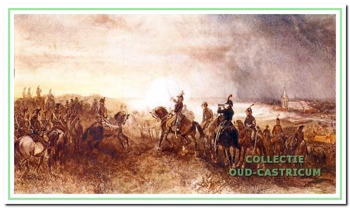 Gevechten tijdens de Slag bij Castricum tussen Russische en Engelse troepen tegen de Bataafse en Franse troepen op 6 oktober 1799.