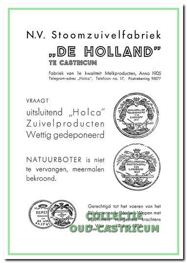 Advertentie van De Holland in 1936. (rechts hoven)