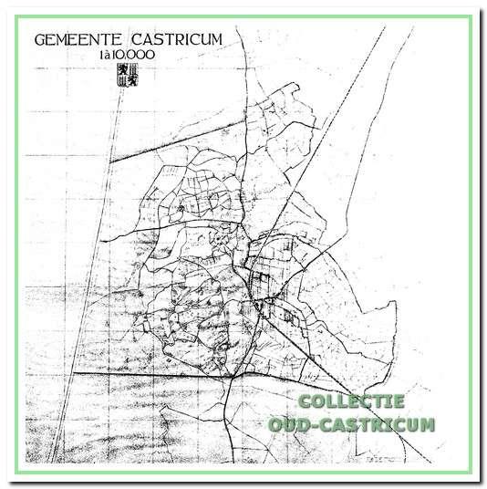Kaart van Castricum die door De Casseres in 1928 is getekend ter voorbereiding op zijn geografische en sociografische beschrijving van de gemeente.