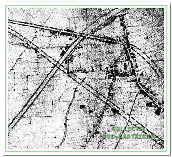 Schets van De Casseres van de westelijke en oostelijke omleiding van de Rijksstraatweg. Goed is te zien dat de westelijke omleiding begint in de bocht van de Dorpsstraat bij de Burgemeester Mooijstraat.