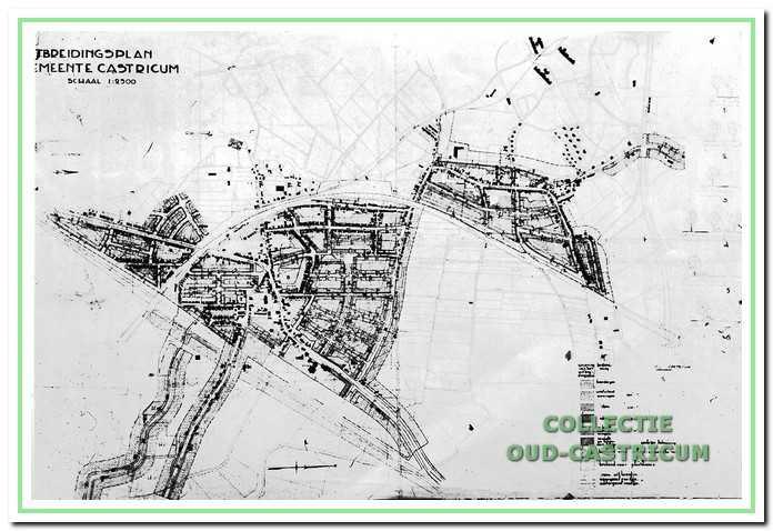 Uitbreidingsplan voor Castricum en Bakkum vastgesteld op 31 maart 1936. De oostelijke omleiding is erop aangegeven.