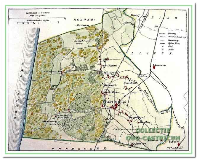 Kaartje van de beide gemeenten zoals is ingetekend op de gemeentekaart uit 1867. De lila lijn geeft ongeveer het verloop weer van de grens tussen de afzonderlijke gemeenten Bakkum en Castricum.