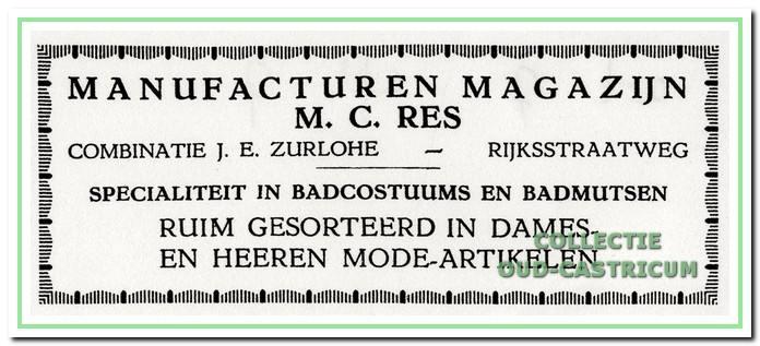 Advertentie van manufacturenhandel M C. Res uit 1925. De Dorpsstraat heette toen nog Rijksstraatweg.