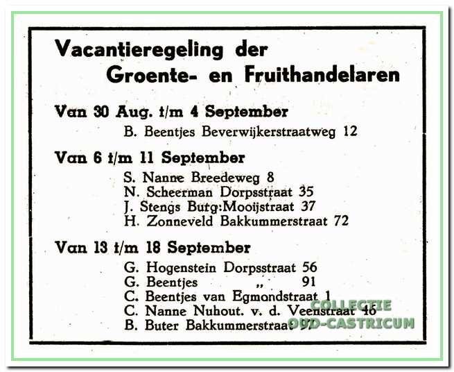 Advertentie vakantieregeling in 1948.