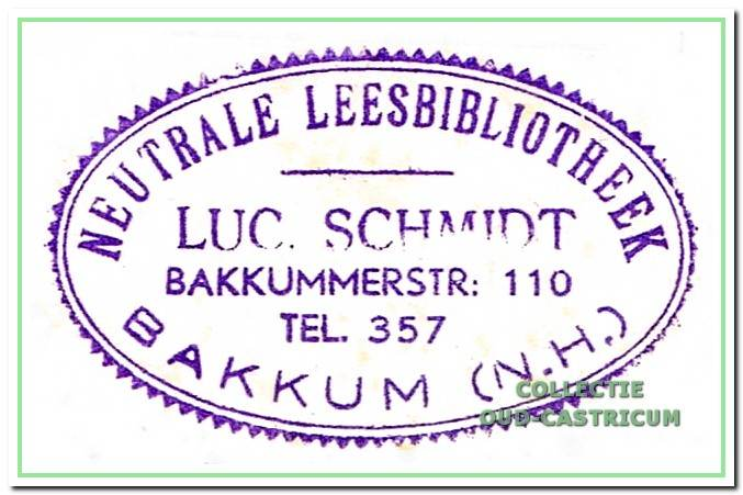 Stempel boekhandel en leesbibliotheek Schmidt.
