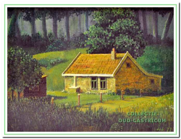 Schilderijtje van het boshuisje van de familie Winkelman aan het Onderlangs.