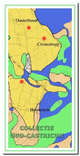 Locaties: opgraving Oosterbuurt (1996), Cronenburg (2003) en vindplaats Victoria (2009).