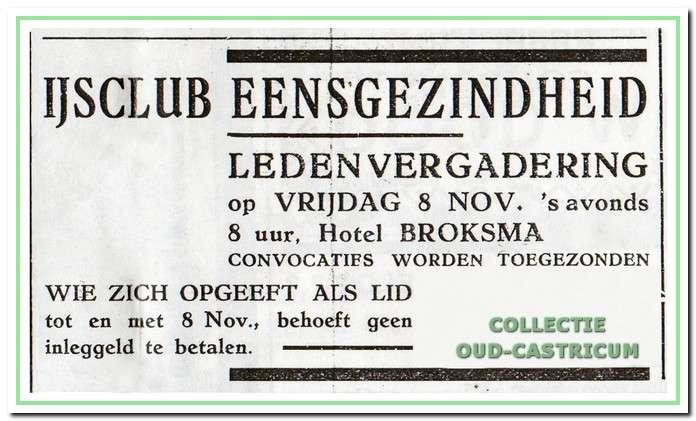 Ledenvergadering IJsclub Eensgezindheid.