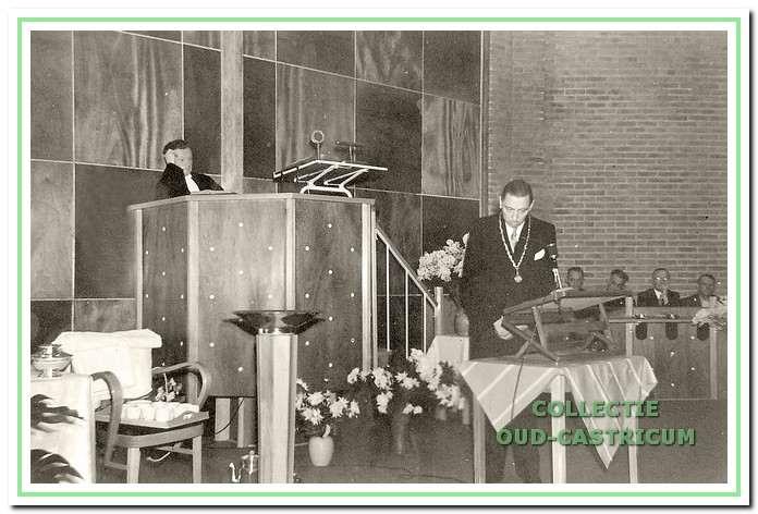 Toespraak van burgemeester C.F. Smeets op vrijdag 23 december 1955 bij de ingebruikname van de kerk.