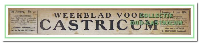 Het oudste in het Regionaal Archief aanwezige Weekblad voor Castricum van 3 januari 1920.