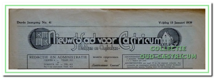 Kop van het Nieuwsblad na de samenvoeging met de Castricummer Courant.