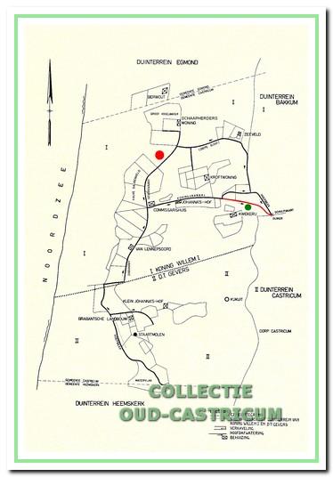 De ligging van de vaarten, met de verlenging van het Koningskanaal, de boerderijen en de locatie (zie rode stip) van het niet gebouwde landhuis. Op het oorspronkelijke kaartje staat boerderij Zeeduin niet ingetekend. Op dit bewerkte kaartje is de plaats van de boerderij met een groene stip aangegeven( naar Jelles bewerkt).