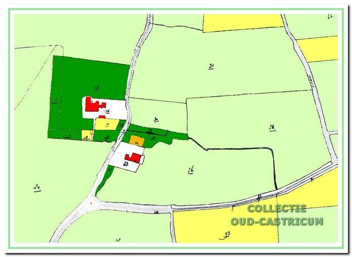 Situatie in 1832: woning Hoogeweg is perceelnummer 23. Linksonder splitsing Hoogeweg-Duinweg, lichtgroen: weiland; donkergroen: bos; lichtgeel: tuingrond, perceelnummer 14 is boerderij Noord-Bakkum (gesloopt in 1989).