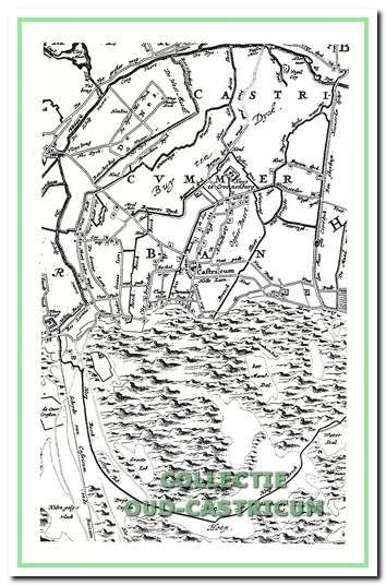 Kaartdetail uit 1745 met de Hoepbeekse afwatering en de Schulpvaart. In de plannen van Ontwerpschets van het landhuis.Gevers zal de Hoepbeekse afwatering worden gekanaliseerd.
