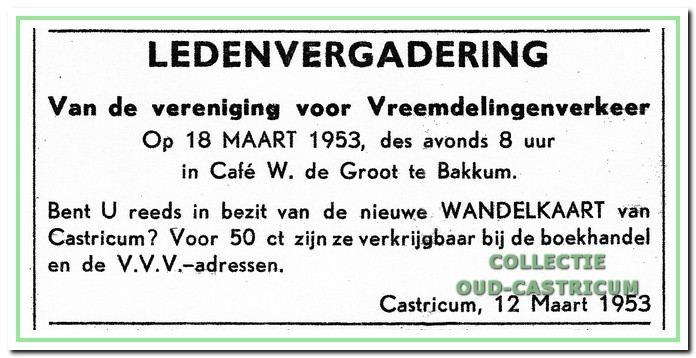 Advertentie voor een ledenvergadering op 19 maart 1953 in café Borst.