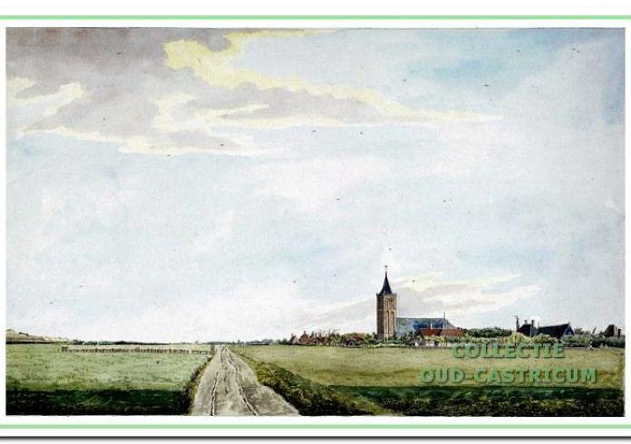 Een beeld van het dorp Castricum in 1807, drie jaar na de komst van Pieter Kieft. De hoofdweg vanaf het zuiden (nu de Oude Haarlemmerweg) was nog een mulle zandweg (aquarel van J.A. Cresent).