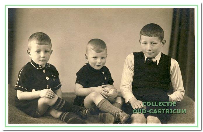 Gert, Nardus en Louis in het voorjaar van 1940.