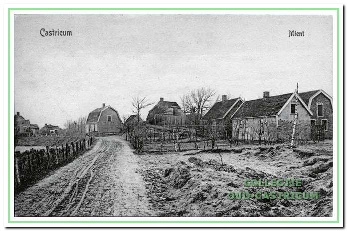 De oudste afbeelding uit 1908 van enkele huizen aan de Mient aan het gedeelte tussen Brakenburgstraat en Dr. Leenaersstraat.