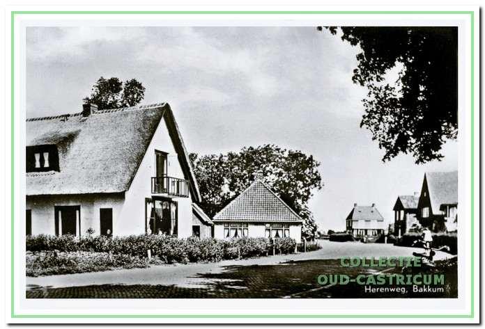 Nu vanaf de rotonde komende links het huis met rieten kap gebouwd in 1951 en iets verder links van de Heereweg het huis van Jan de Ruijter (zie 34).