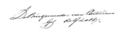 Handtekening van burgemeester Jan de Quack.