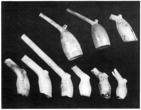 Een verzameling pijpekoppen. Het oudst zijn de kleine pijpekoppen met de tamelijk dikke stelen. Later werden de pijpekoppen groter en de stelen dunner gefabriceerd en het geheel gladder afgewerkt.
