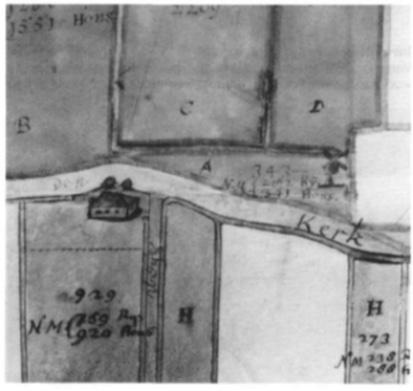 Hier is de boerderij uit een kaartboek van omstreeks 1640. Aan de andere kant van de (Kerke)dijk is ook hier de watermolen aangegeven.