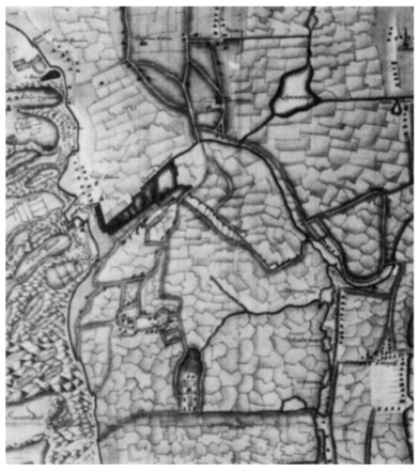 Gedeelte van de kaart van Beverwijk en omstreken anoniem Coll. Bodel Nijenhuis. Univ. bibl. Leiden. Op deze kaart uit ± 1650 springt de geest Heemstede aan de Korendijk er duidelijk uit.