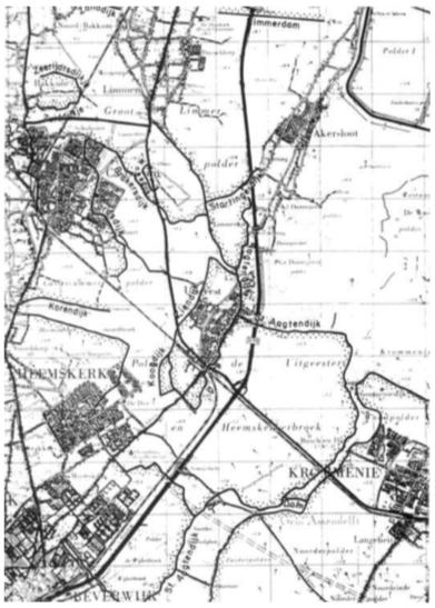 Op een detail van de topografische kaart is het gehele dijkenstelsel rond Castricum en de omliggende gemeenten weergegeven. Een aantal dijken zijn aan de nieuwbouw ten offer gevallen. Vele dijken zijn nog in het landschap herkenbaar.