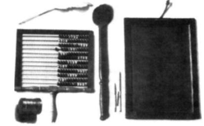19e eeuwse onderwijsmiddelen: ganzenveer, telraam, sponzendoos, de plak als strafvoorwerp, griffels en lei.