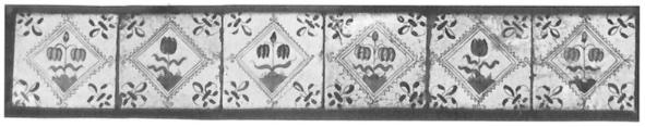 Gekleurde kwadraattegels, daterend uit het midden van de 17e eeuw.
