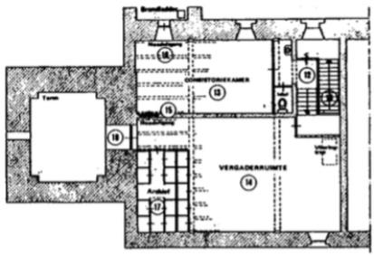 De inrichting van de kerkruimte (westzijde) op de eerste verdieping.