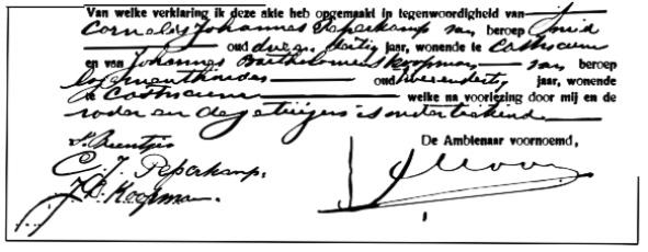 Bij vele geboorte-aangiften trad Cor Peperkamp op als getuige; op vele akten is zijn handtekening te vinden.
