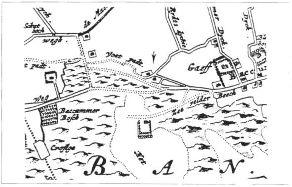 Detail van een kaart naar de situatie in 1680.
