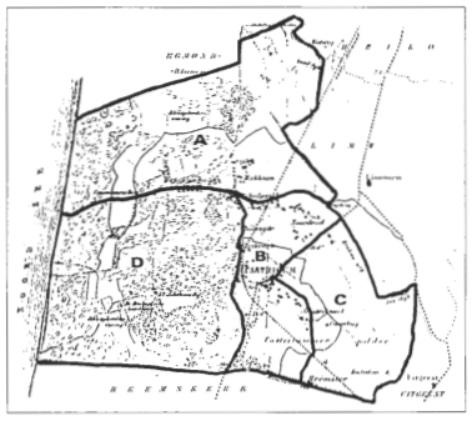 Verdeling van de gemeente in vier kadastrale secties.