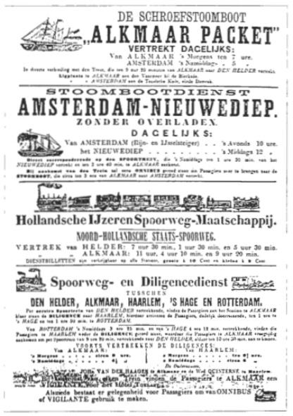 Advertentie voor vervoer per spoorweg en stoomboot.