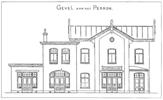 Het oude station met daaraan gebouwd de twee nieuwe gedeelten in 1912.