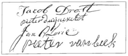 De ondertekening door de schepenen van een raadsverslag uit 1793. Drost tekende vaak als eerste.