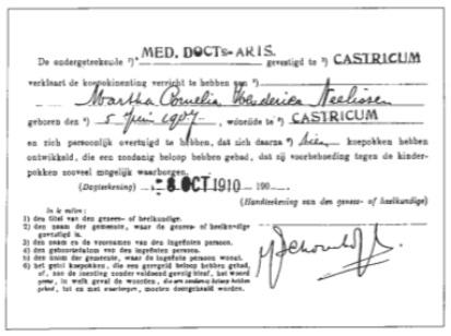 Bewijs van koepok inenting, afgegeven door dokter Schoonhoff in 1910.