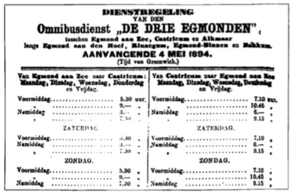 Dienstregeling Omnibusdienst 'De Drie Egmonden'.