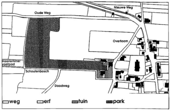 De bezittingen van de schout Pieter Kieft: de schoutwoning (het Koophuis), het Schoutenhuisje, boerderij 'Compaan' en het achterliggende park (het Schoutenbosch).